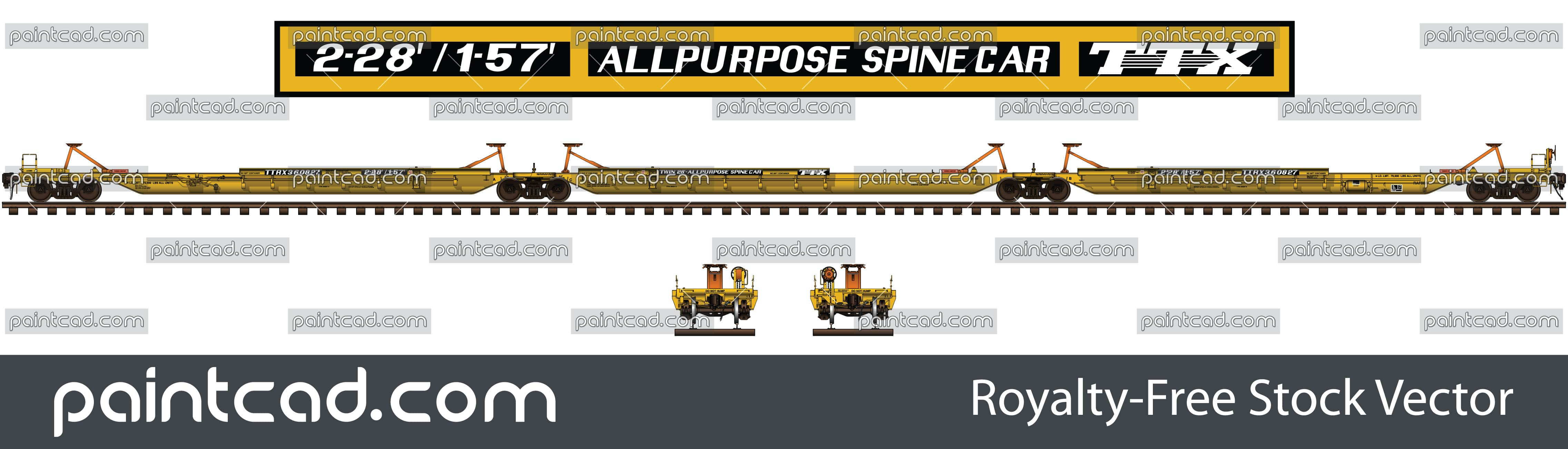 Trailer train TTX with intermodal all purpose spine cars - vector illustration