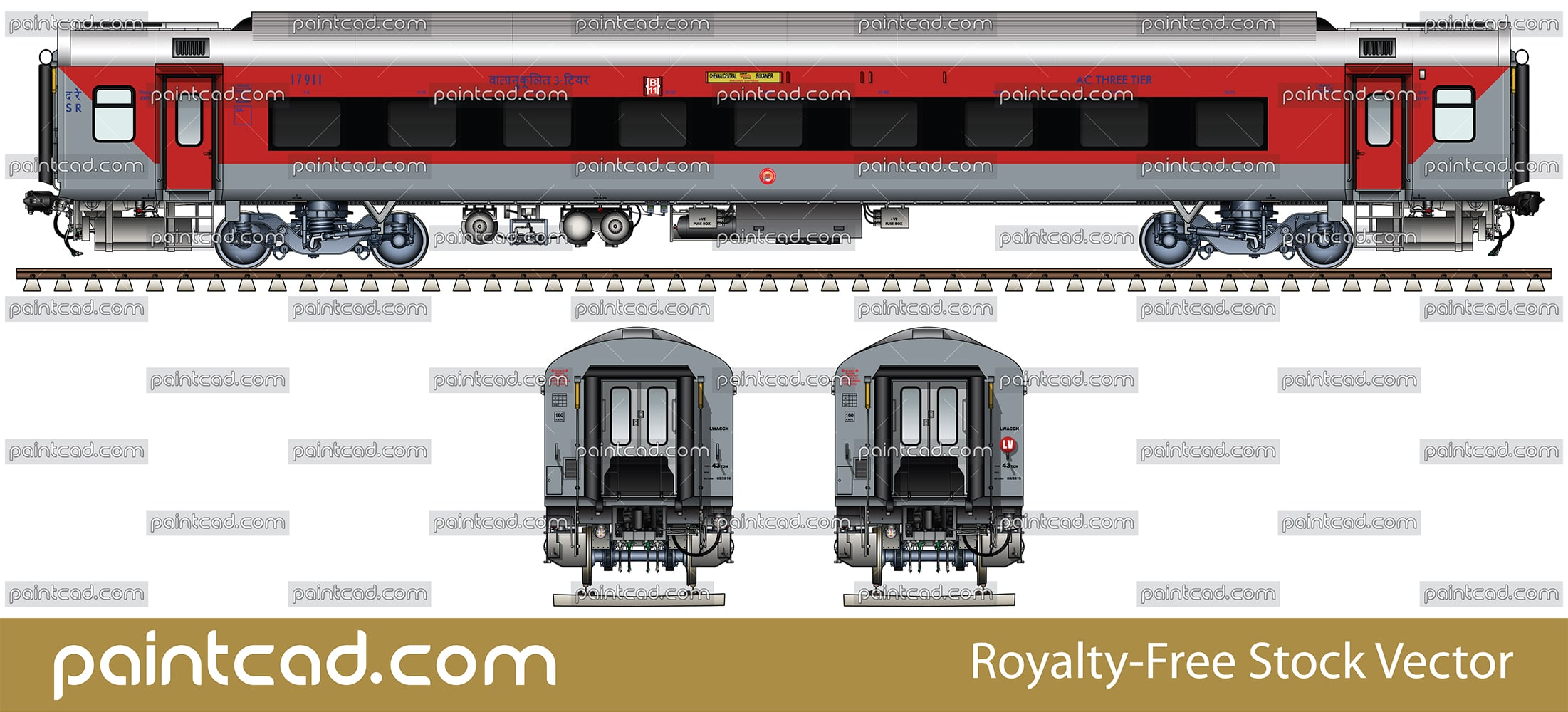 AC 3-tier LHB car with continuous bezel-less panoramic window - vector illustration