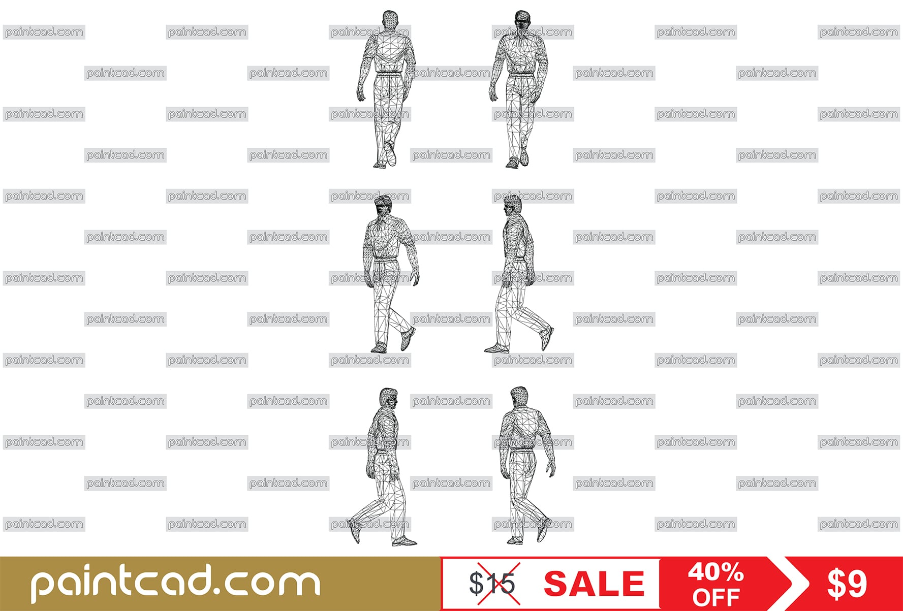 Wire model of walking Man. Front, rear, side and axonometric view.