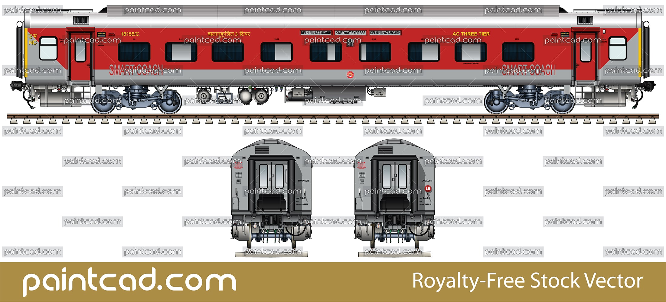 Indian LHB smart coach in livery of Kaifiyat Superfast Express - vector illustration