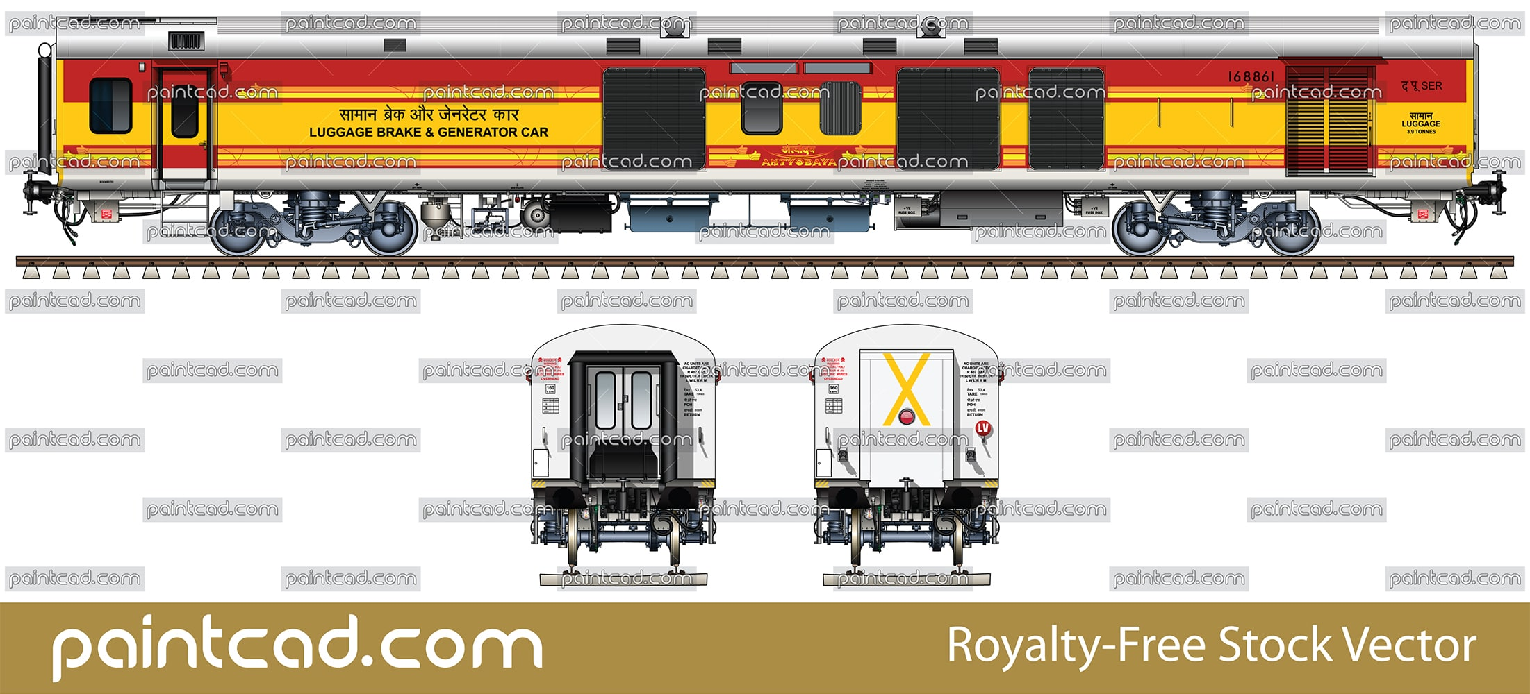 Luggage, brake and generator car in livery of Antyodaya train - vector illustration