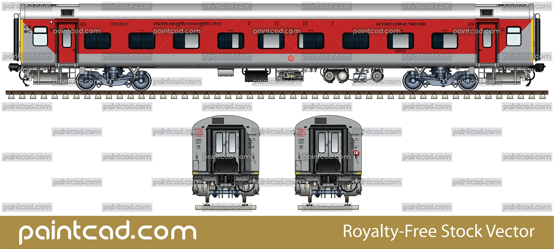 Indian LHB passenger car - mixed AC first cum AC two tier - vector illustration