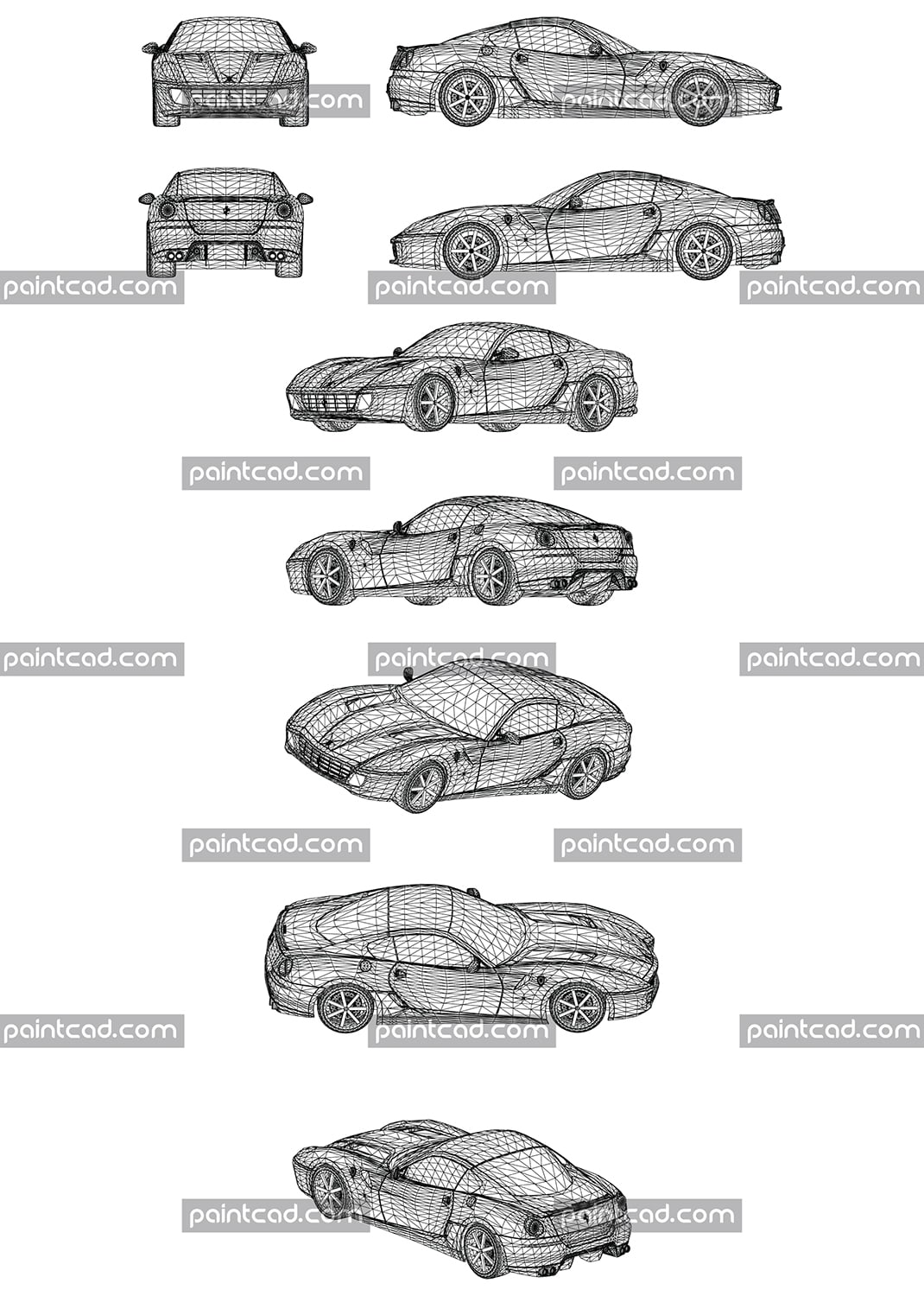 Wire model of mega luxury sports car, manufactured in Italy. The vehicle is one of the most desirable models for possession and driving. It is synonymous with prosperity, class, excellently financial position, speed and beauty. Front, rear, side and axonometric view.