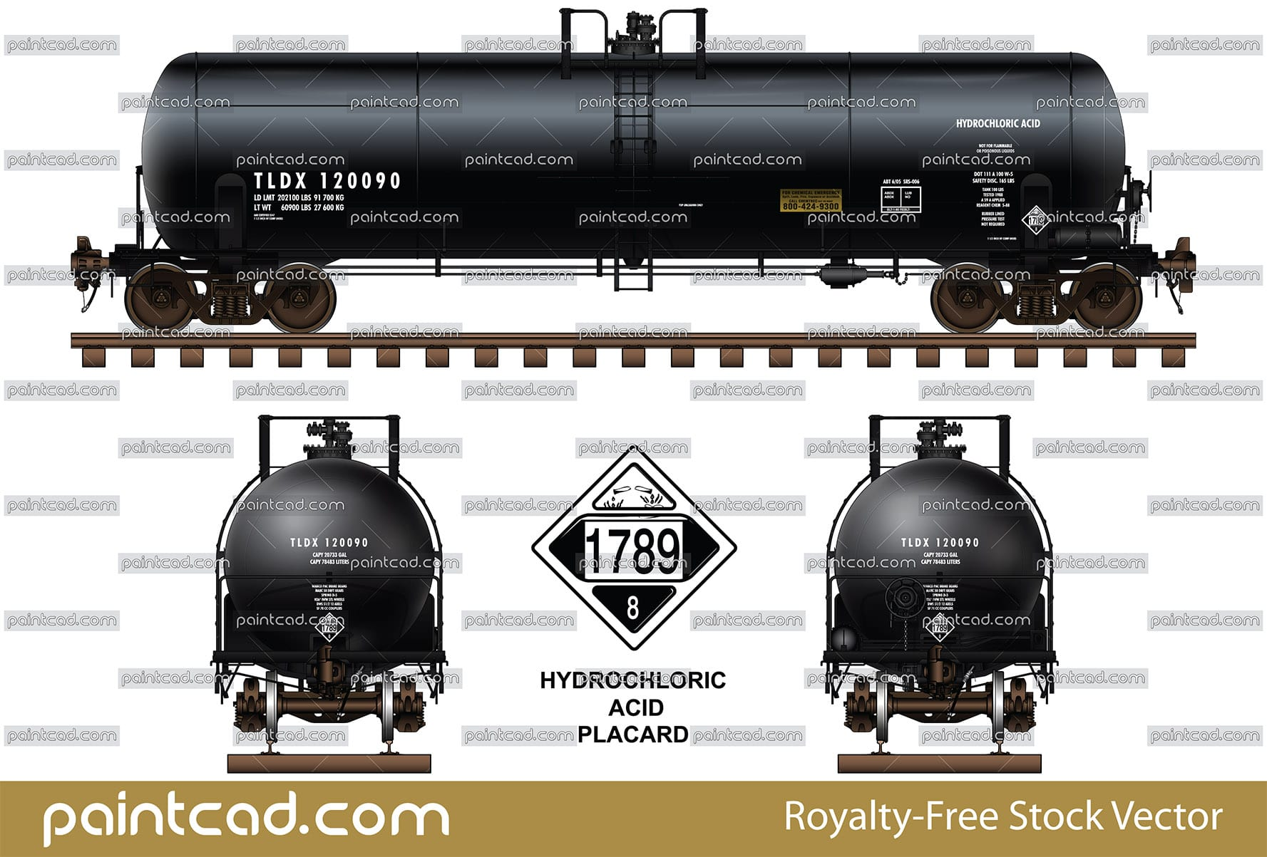Detailed black silhouettes of tankers DOT- 111 and DOT-112 - vector illustration