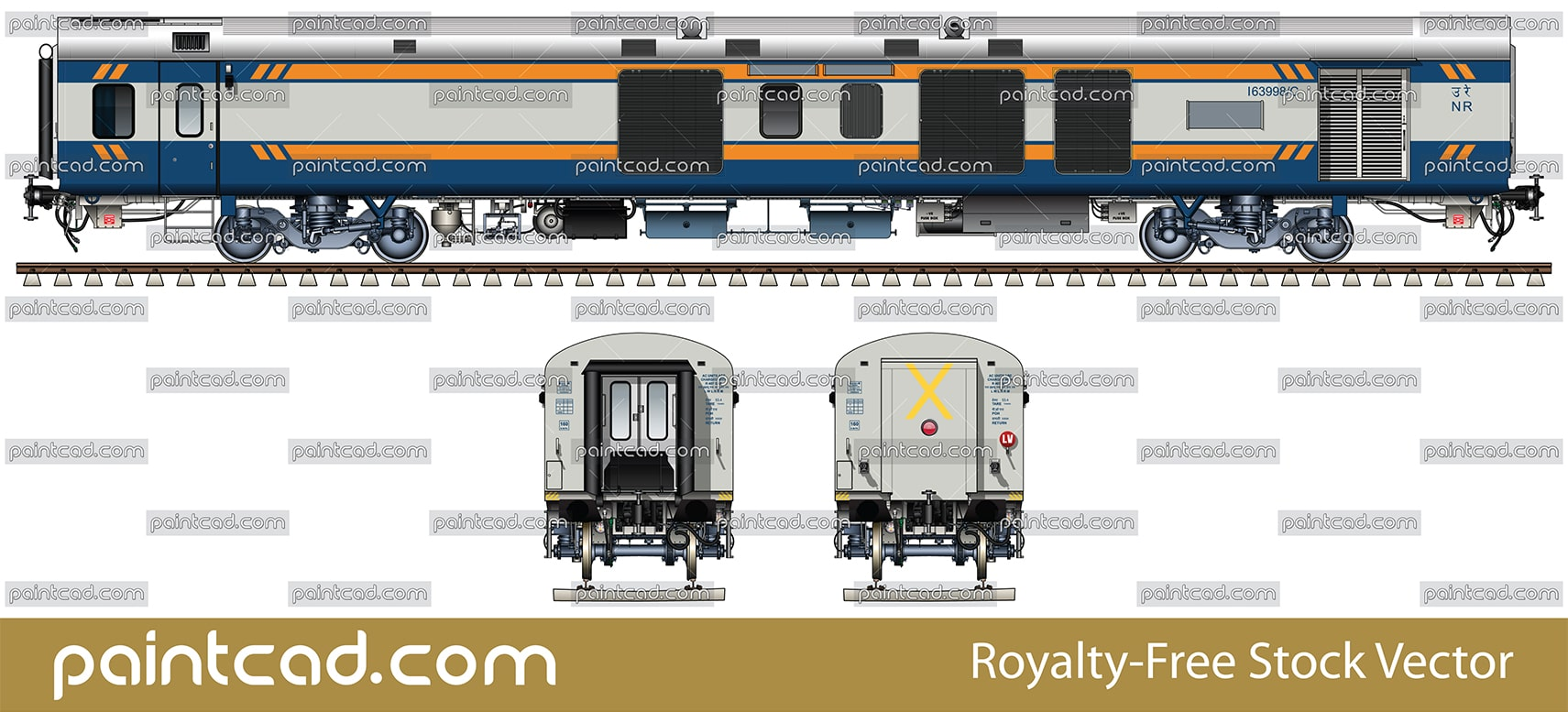 Indian LHB Generator car in first colors of Tejas express - vector illustration