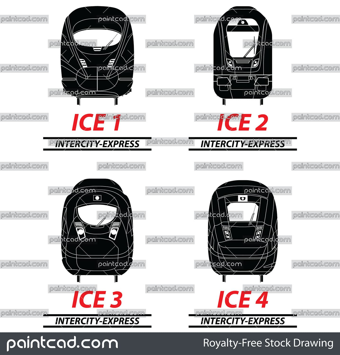 Set with black vector icons of German Intercity-Express ICE - vector illustration