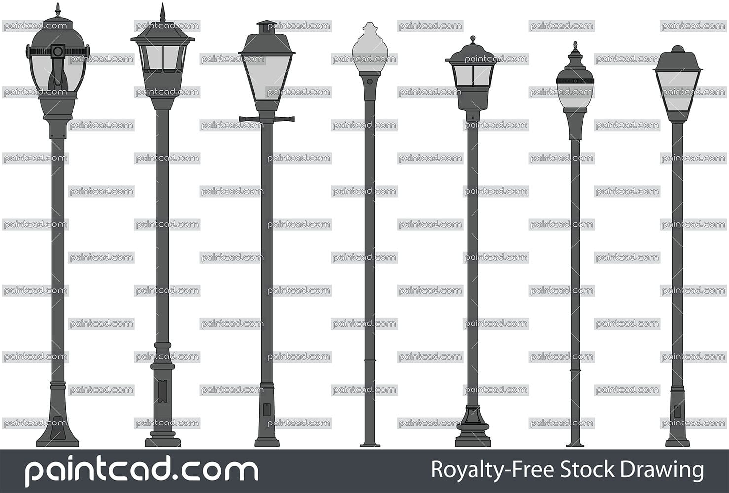 Vector icons of street lamp - lanterns and park light poles - vector illustration