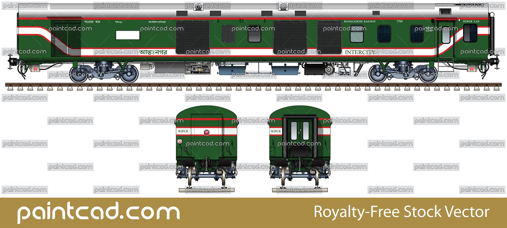 Modern Indian LHB power car in livery of Bangladesh Railway - vector illustration