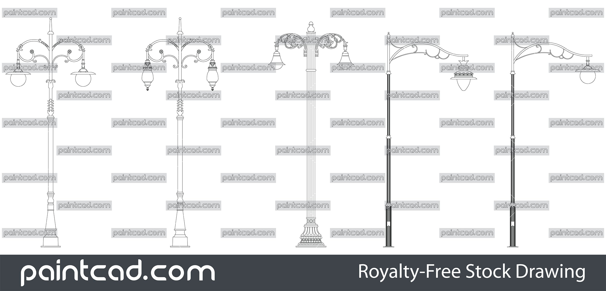 Vector set with urban park lights - single and pole lamps - vector illustration