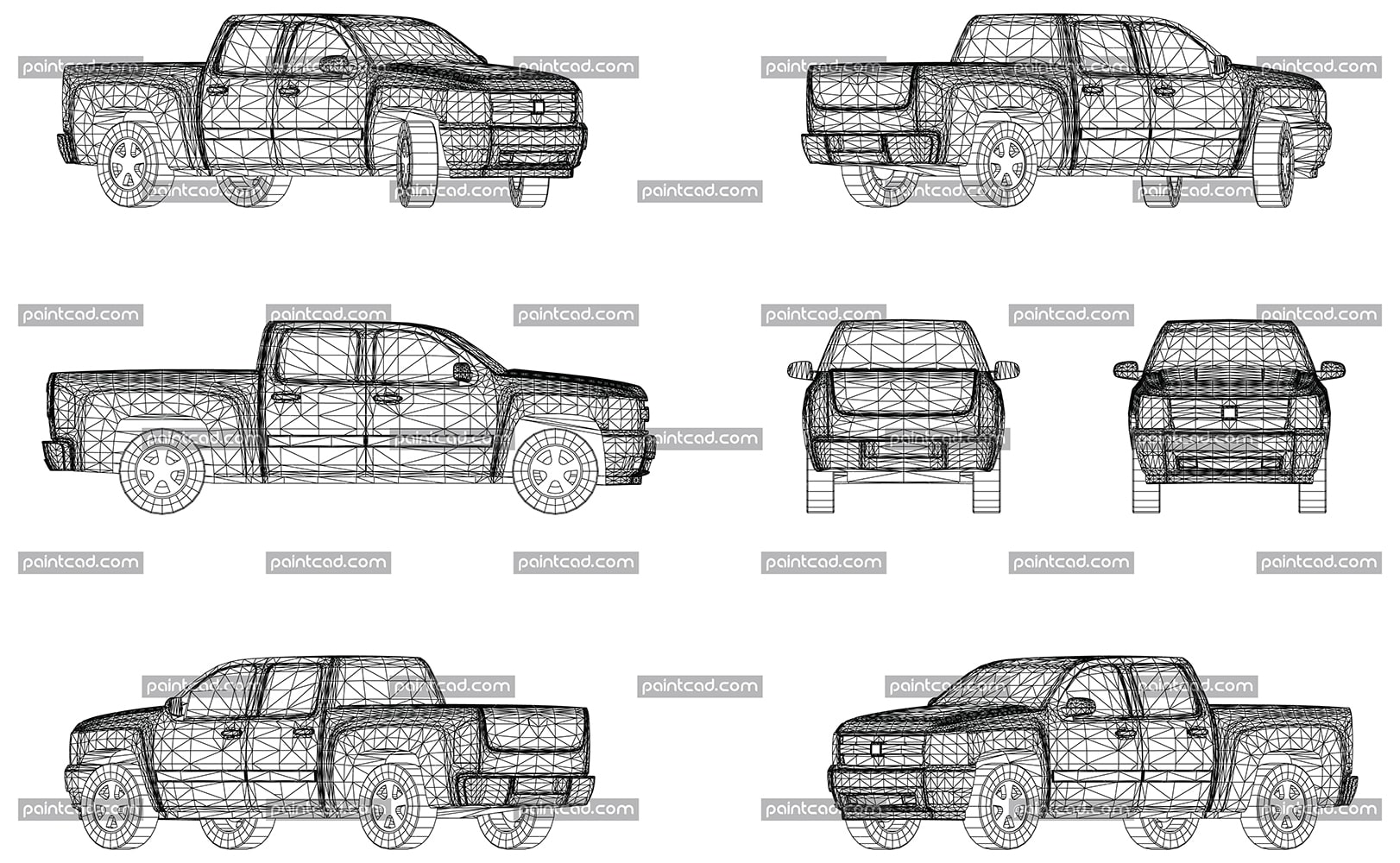 Vector drawing with wireframe model of pickup truck - vector illustration