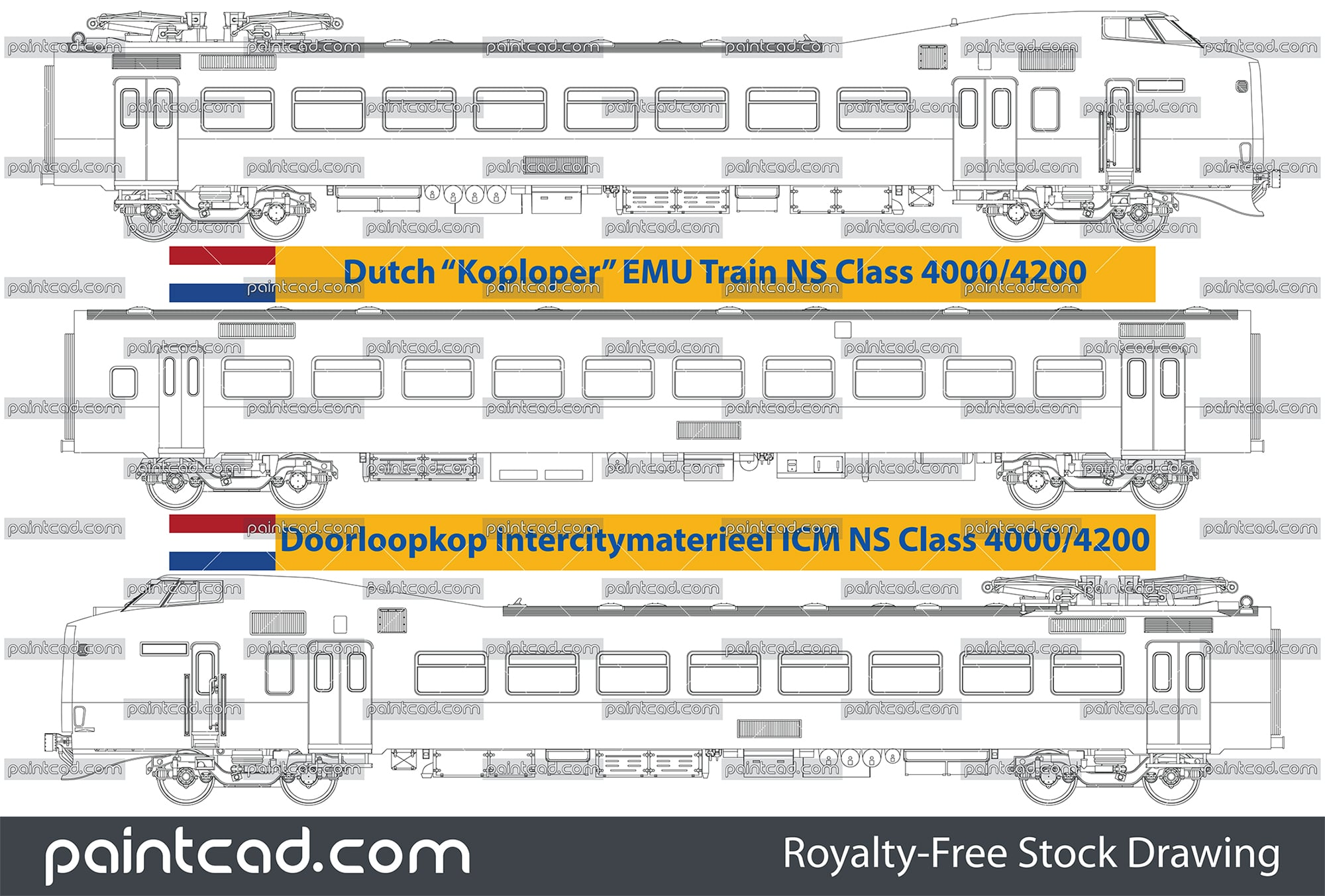 Koploper EMU train Class 4000/4200 by Nederlandse Spoorwegen - vector illustration