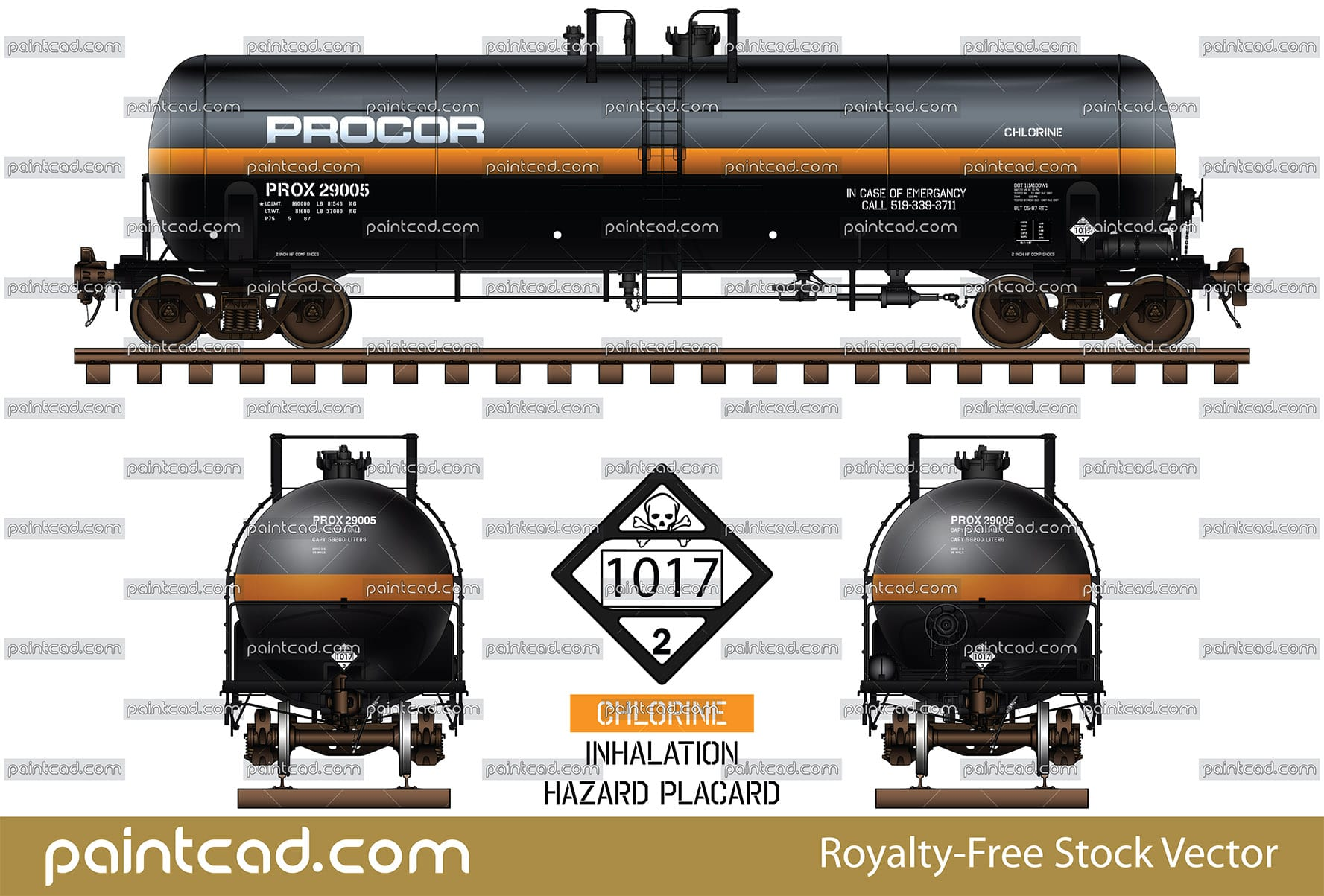 Canadian Procor tank car DOT 111 with horizontal orange band - vector illustration