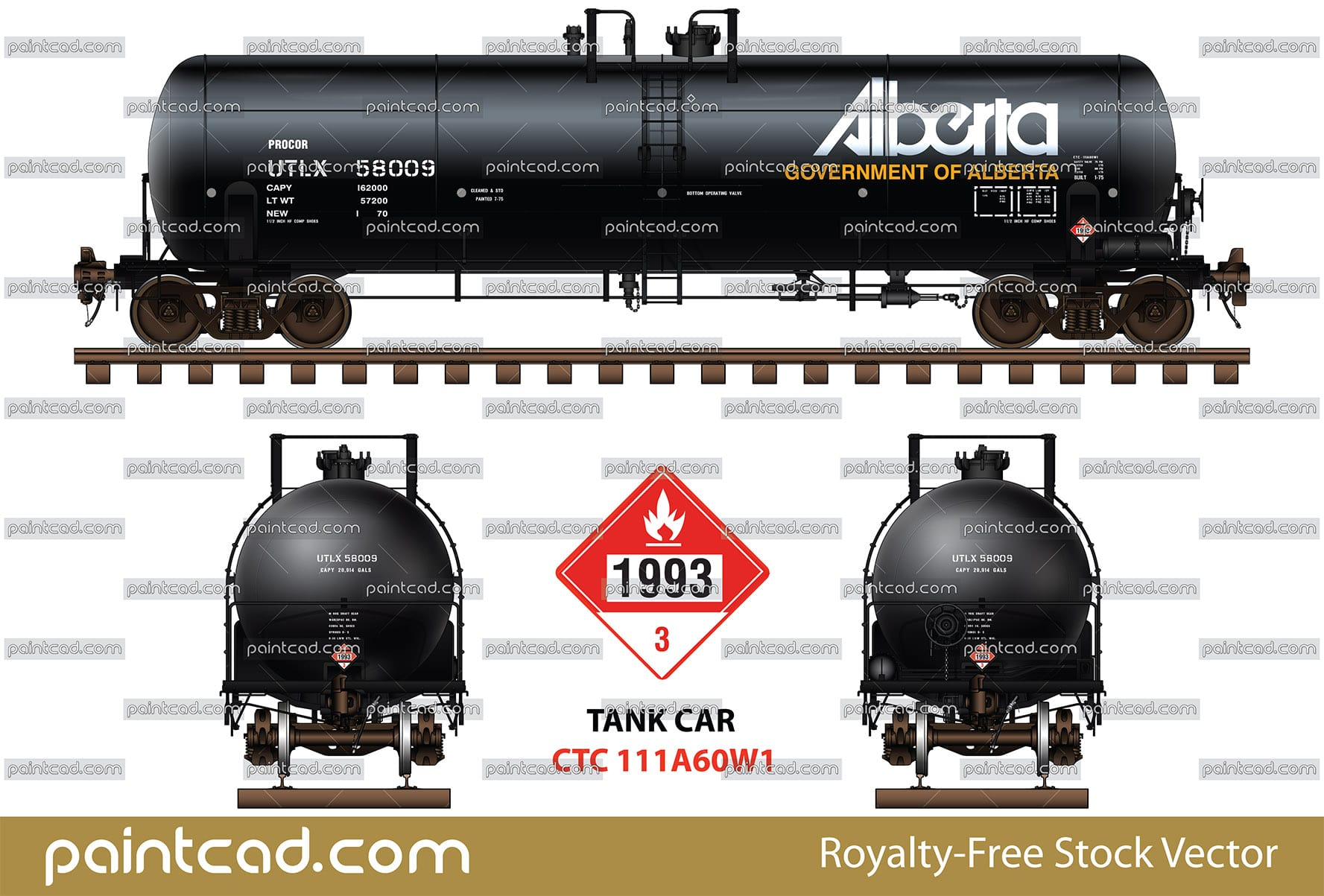 Procor UTLX tank car CTC - 111A60W1 by Government of Alberta - vector illustration