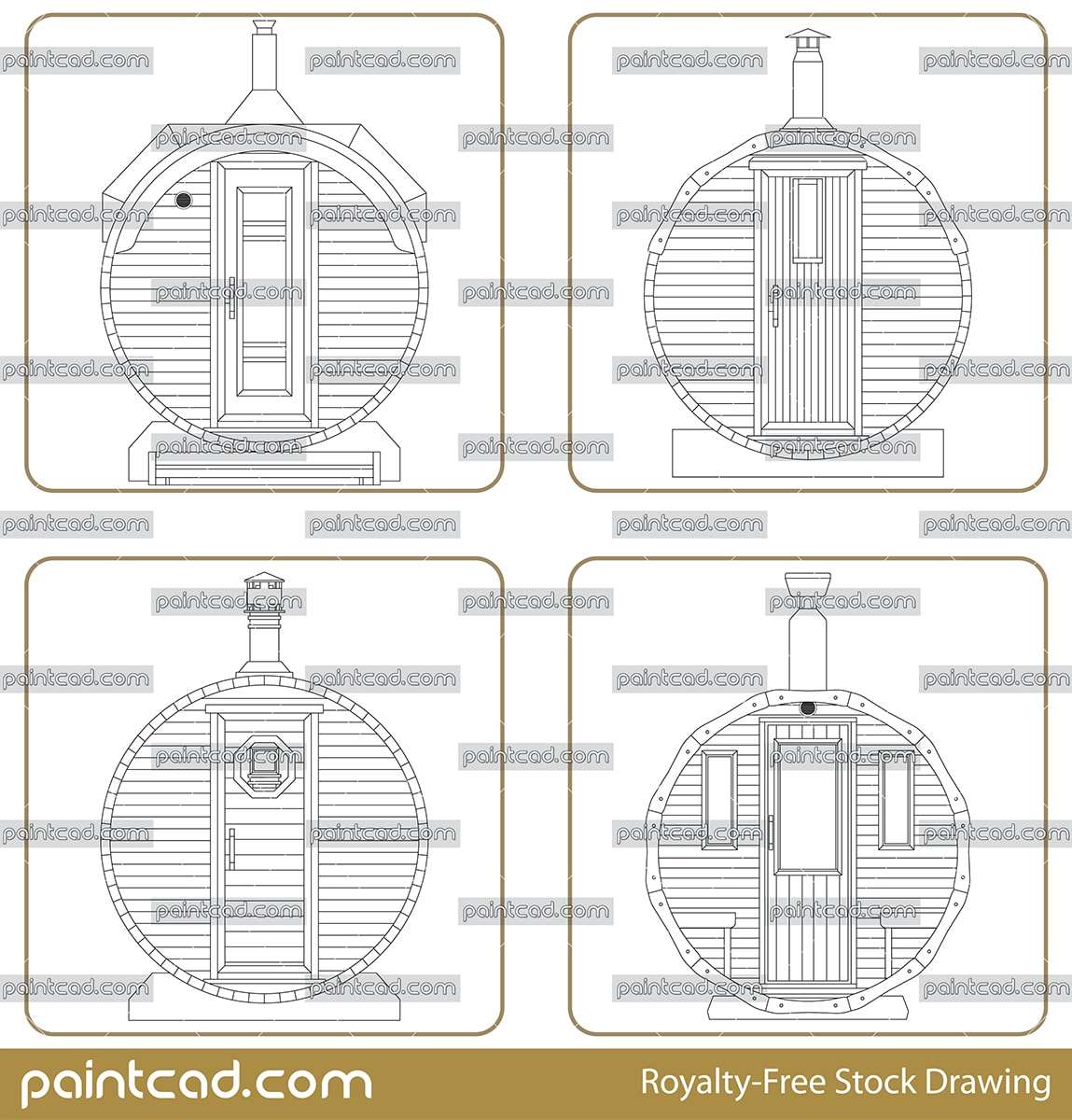 Vector drawing of outdoor barrel sauna with metal chimney - vector illustration