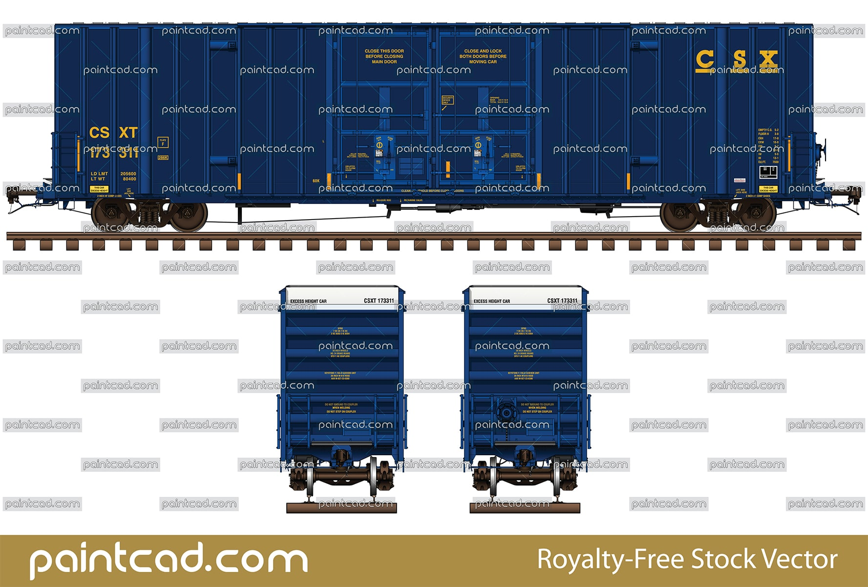 Gunderson boxcar 60 ft in red livery of CN and BNSF Railway - vector illustration
