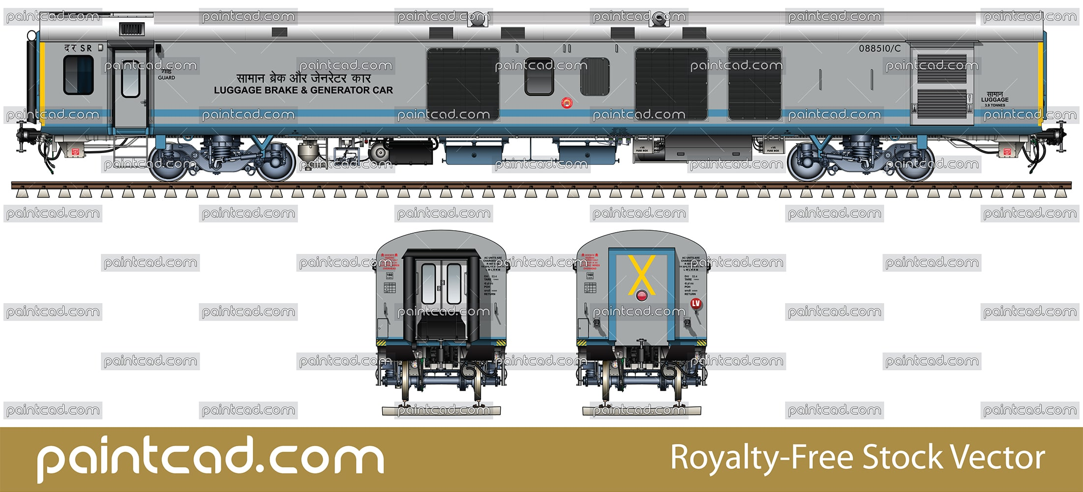 EOG LHB Generator coach in livery of Shatabdi Express - vector illustration