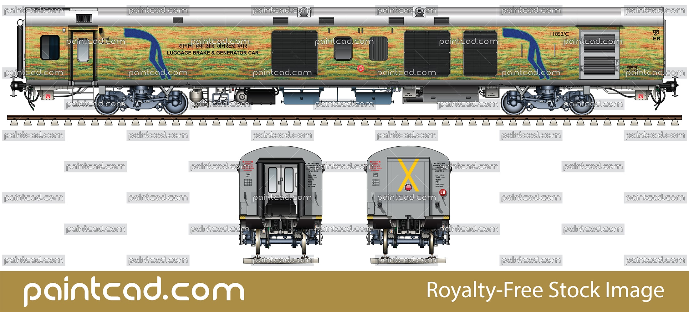 LHB Generator car in yellow-green livery of Duronto Express - vector illustration