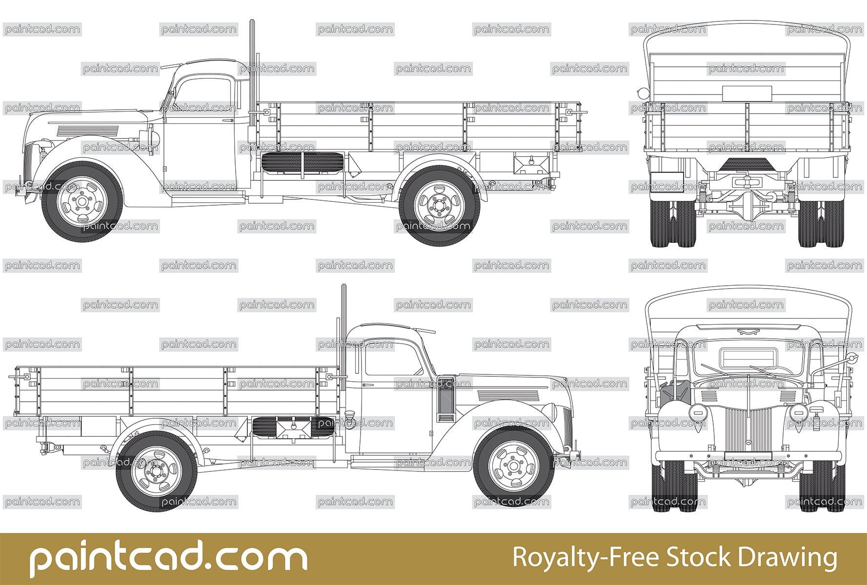 Vector drawing of German truck Ford V3000S from World War II - vector illustration