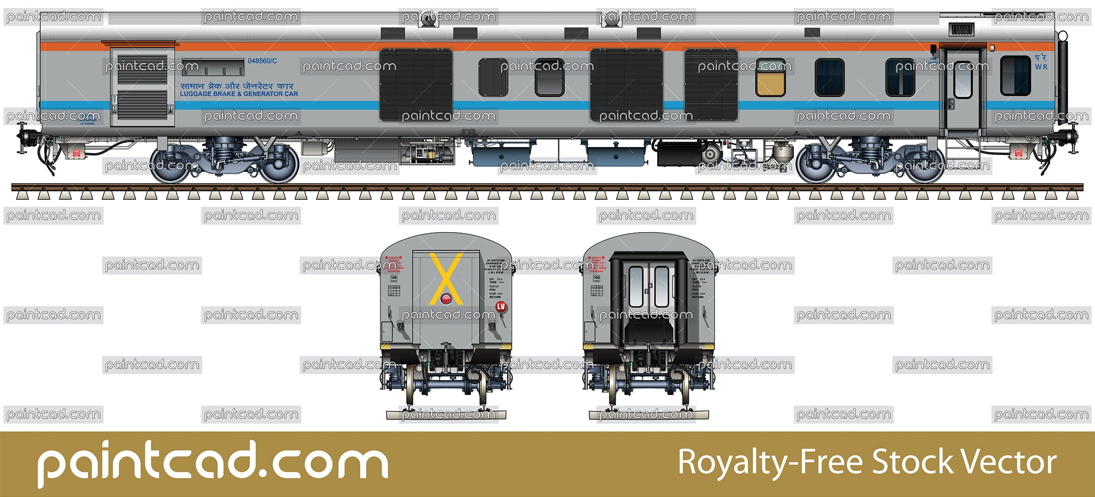 Power car in livery of Maharashtra Sampark Kranti Express - vector illustration