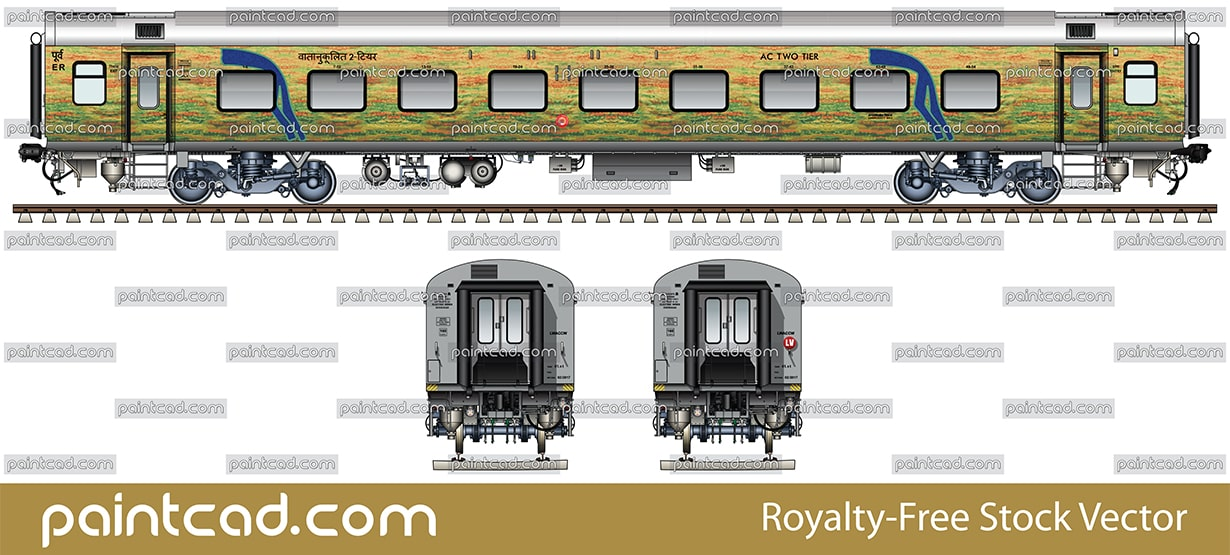 LHB AC 2 TIER car in yellow-green livery of Duronto Express - vector illustration