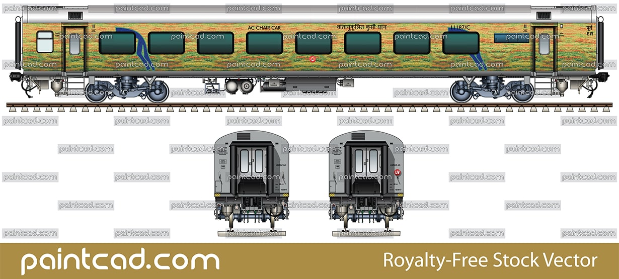 LHB AC chair car in livery of Duronto Express trains - vector illustration