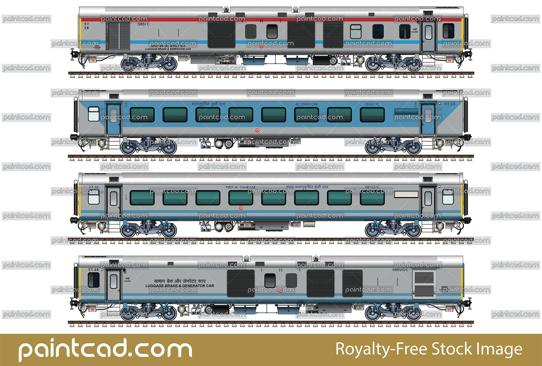 Rake of the Indian train Chennai-Coimbatore Shatabdi Express - vector illustration