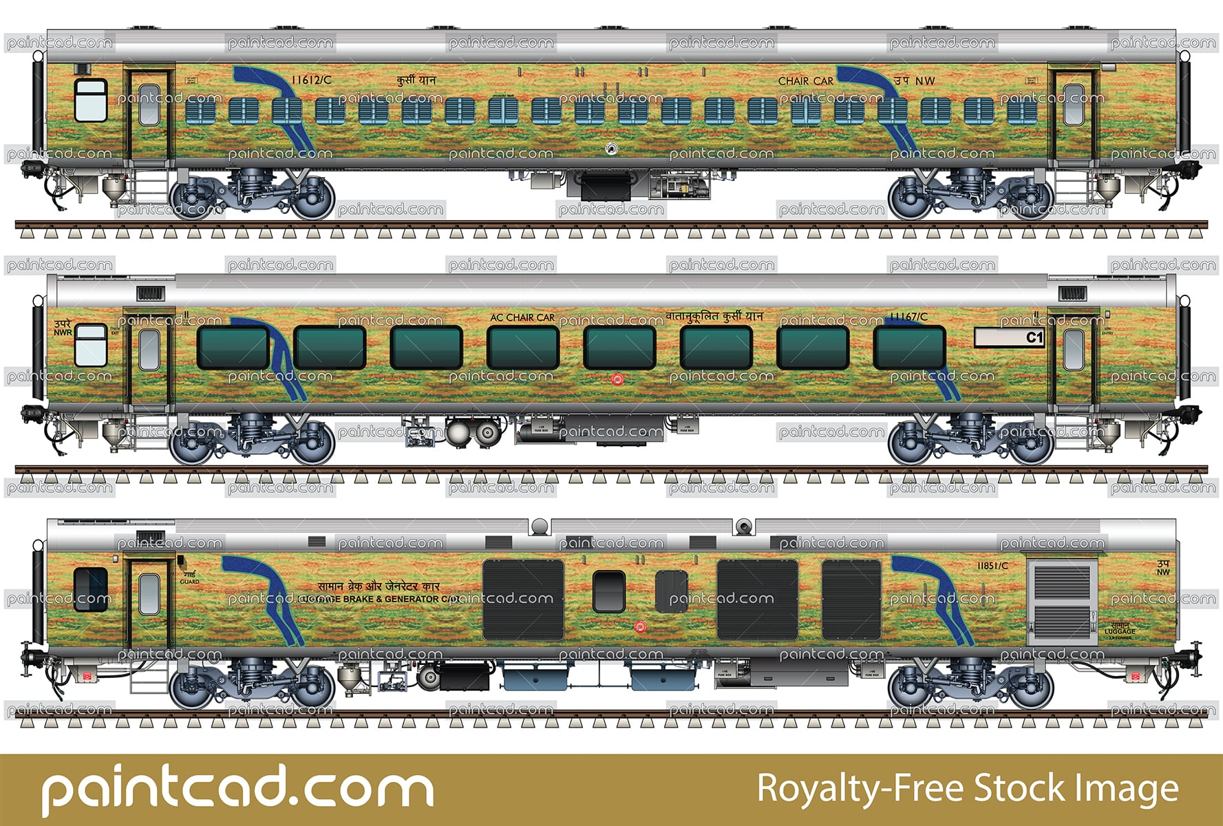 Rake of 12065 Ajmer - Hazrat Nizamuddin Jan Shatabdi Express - vector illustration
