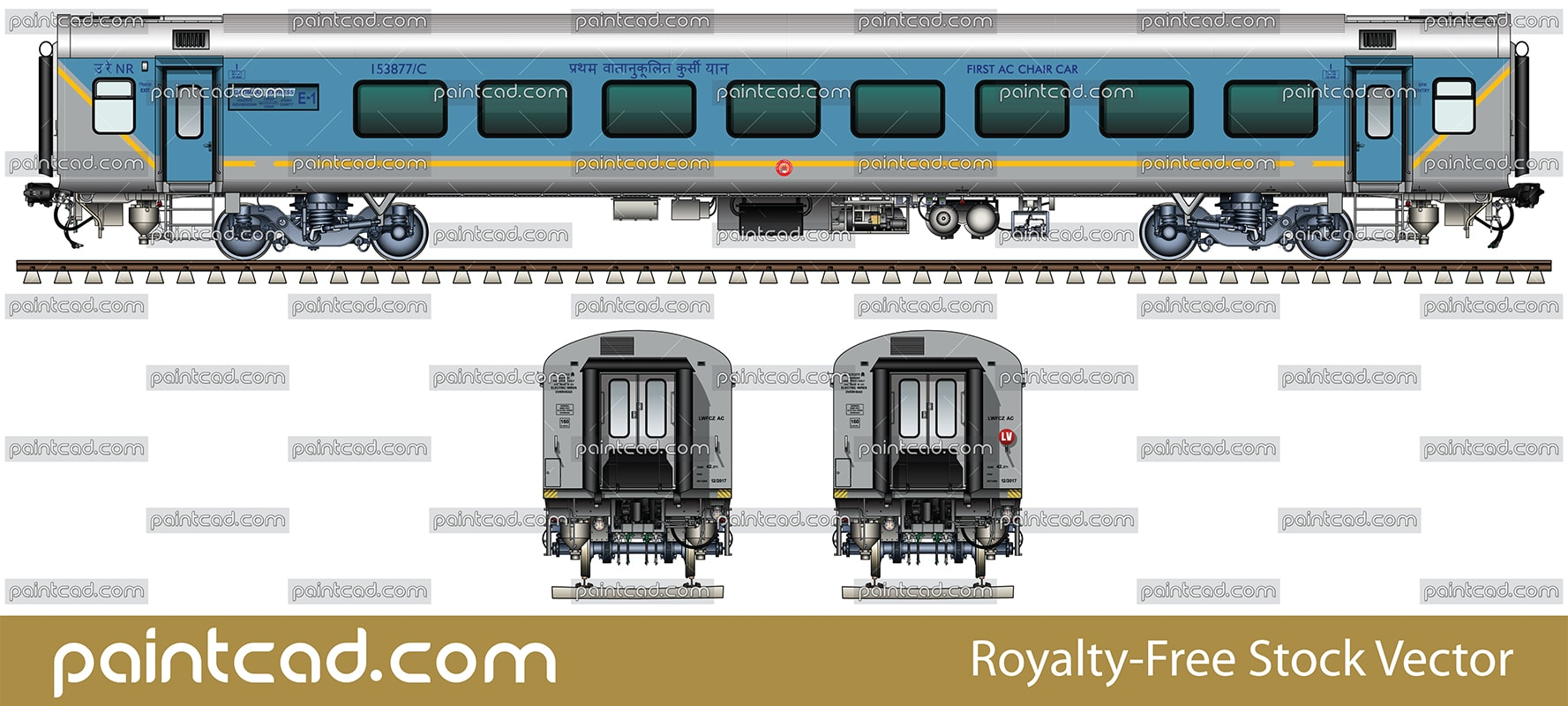 Executive first AC chair car in livery of Gatimaan Express - vector illustration
