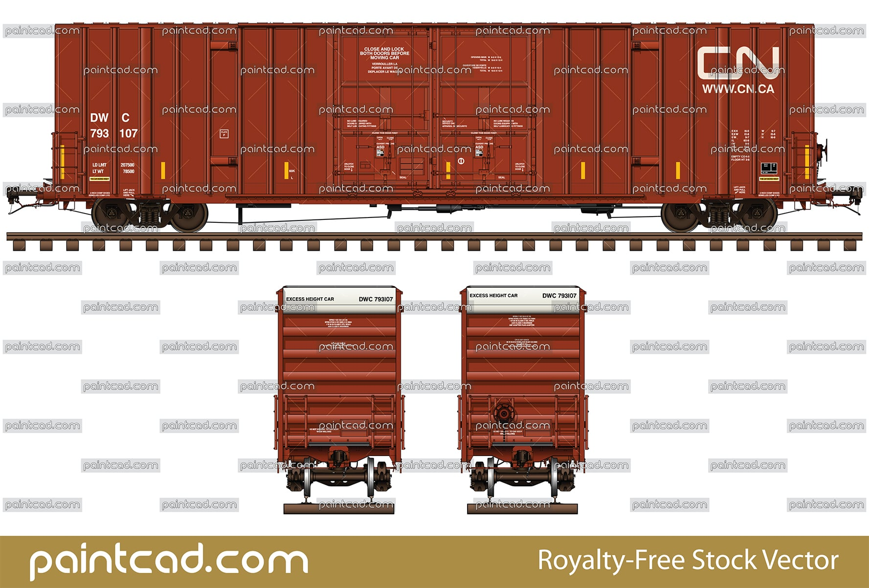"Canadian National Railway boxcar 60 foot with plate ""F"" - vector illustration"