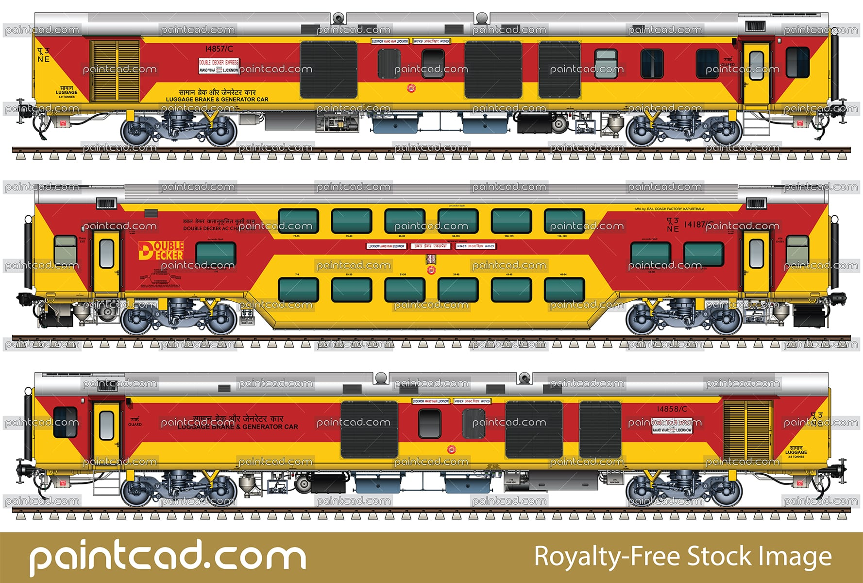 LHB rake of Lucknow- Anand Vihar AC Double Decker Express - vector illustration