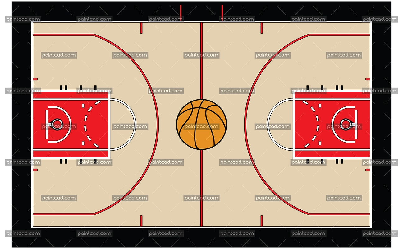 Color drawing of a basketball court with ball in the center - vector illustration