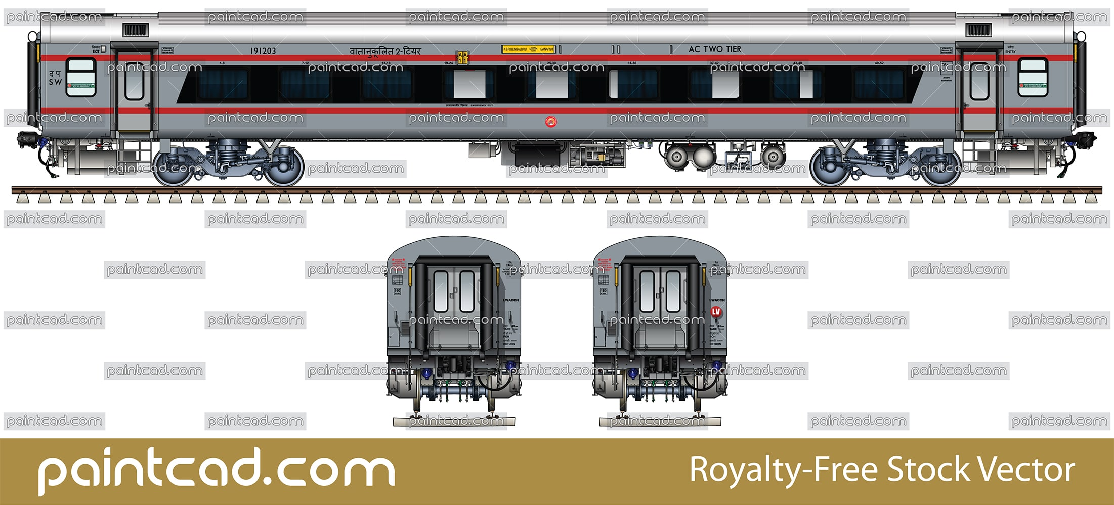 AC 2-tier car with bezel less window by Sanghamitra Express - vector illustration