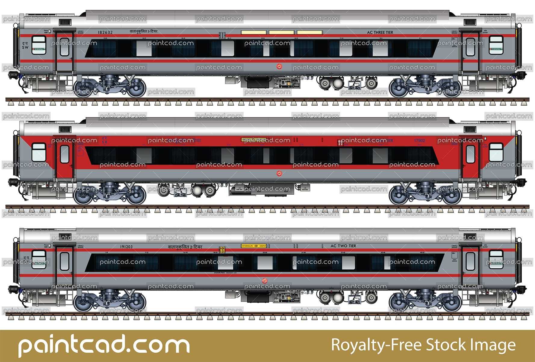 LHB AC 3-tier and AC 2-tier coaches with bezel less window - vector illustration