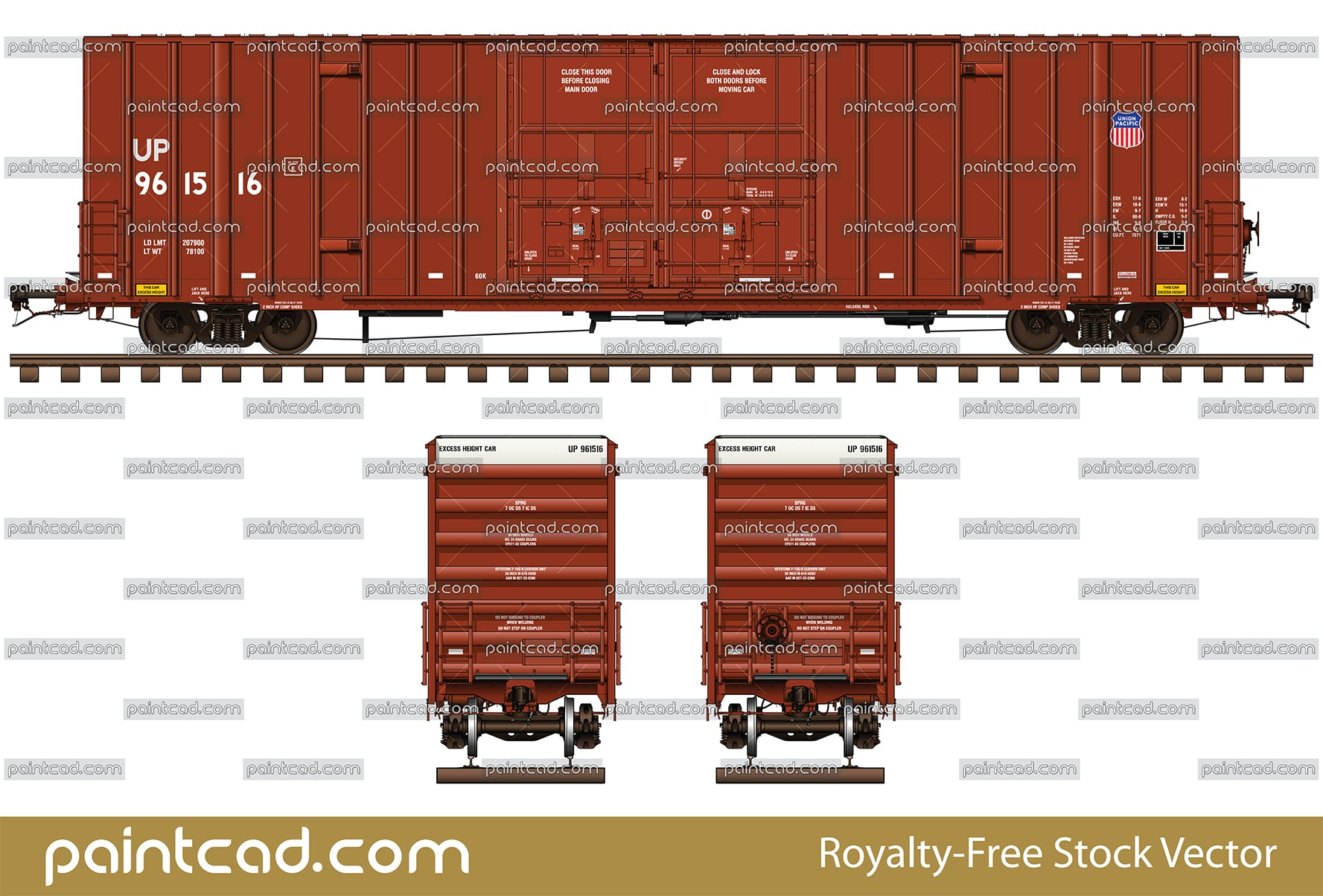 Gunderson boxcar 60 ft in livery of Union Pacific Railroad - vector illustration