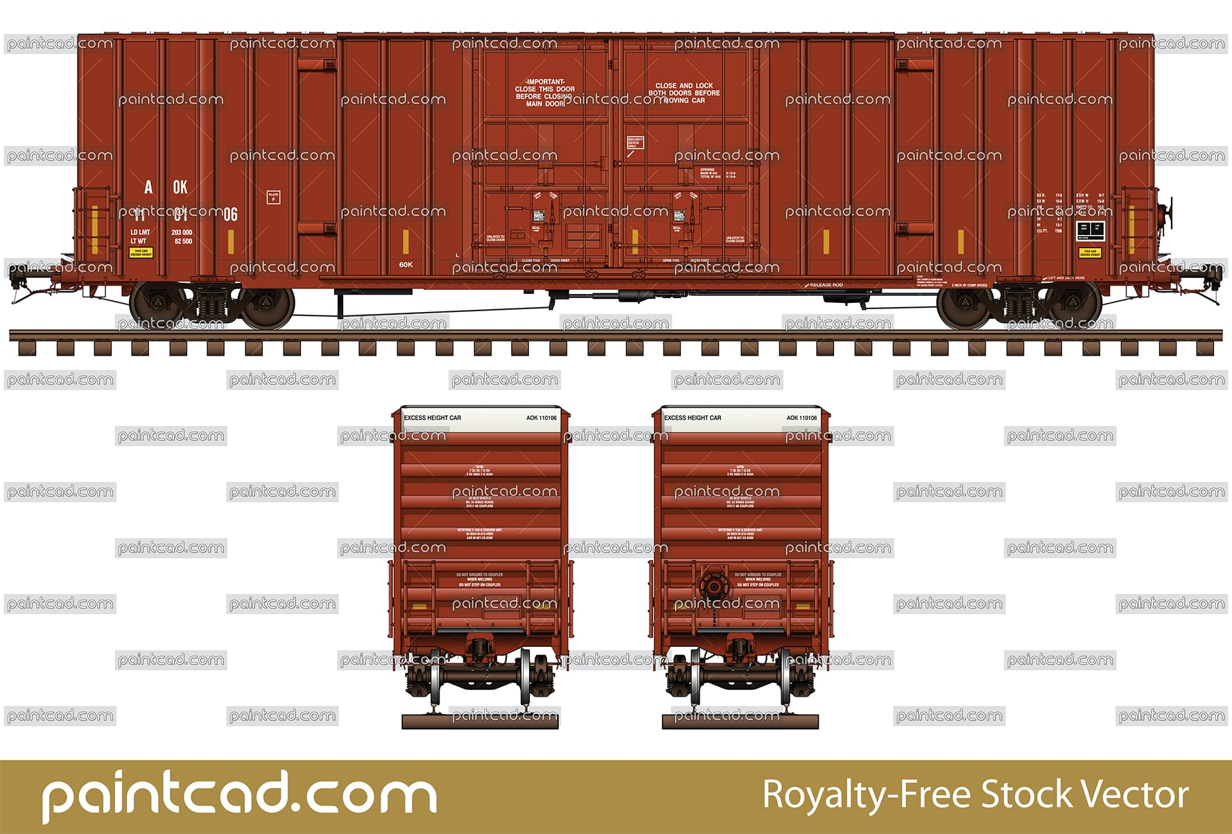 High-cube boxcar 60 ft in red livery of railway company AOK - vector illustration