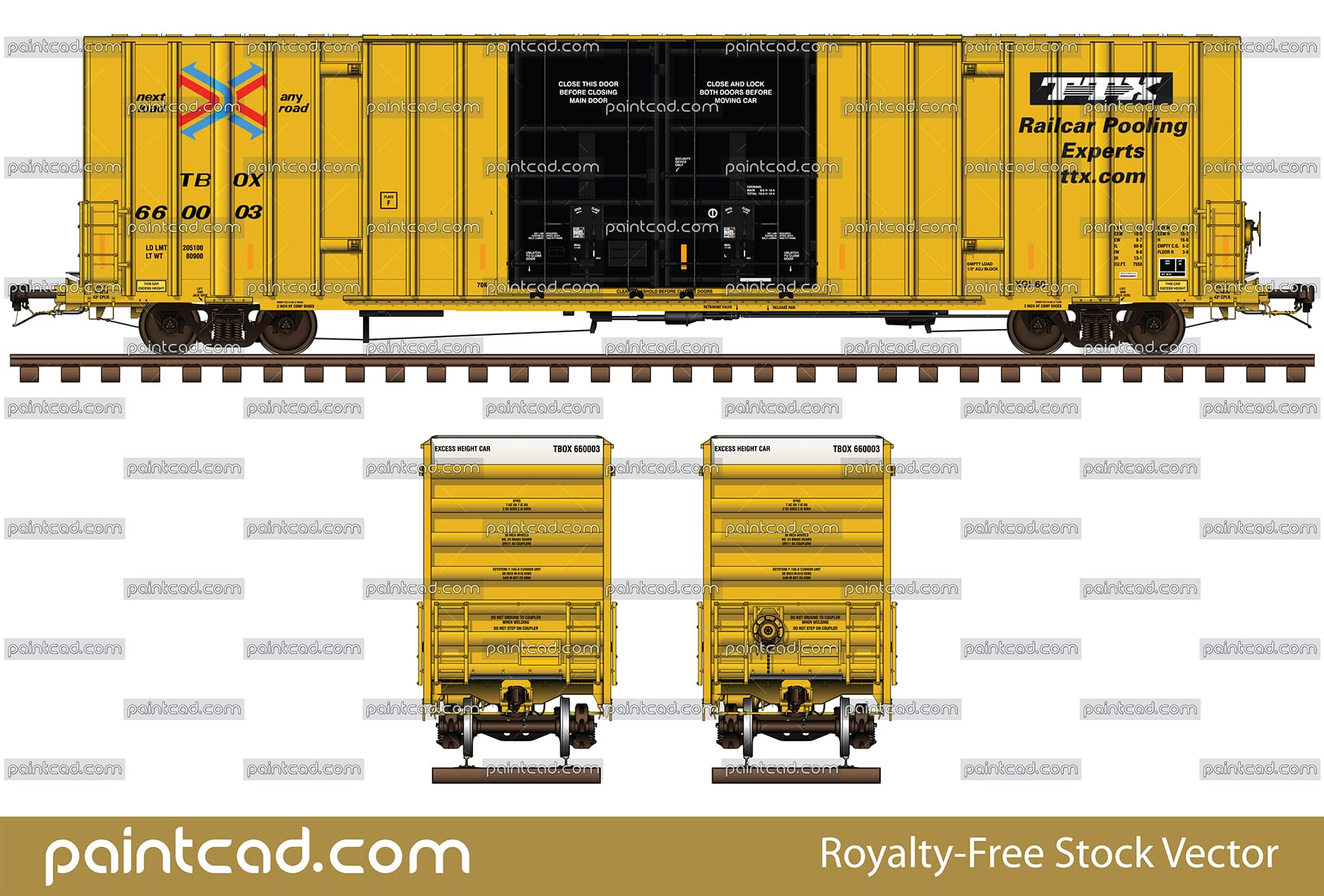Box car 60 ft painted yellow of Railcar Pooling Experts TTX - vector illustration