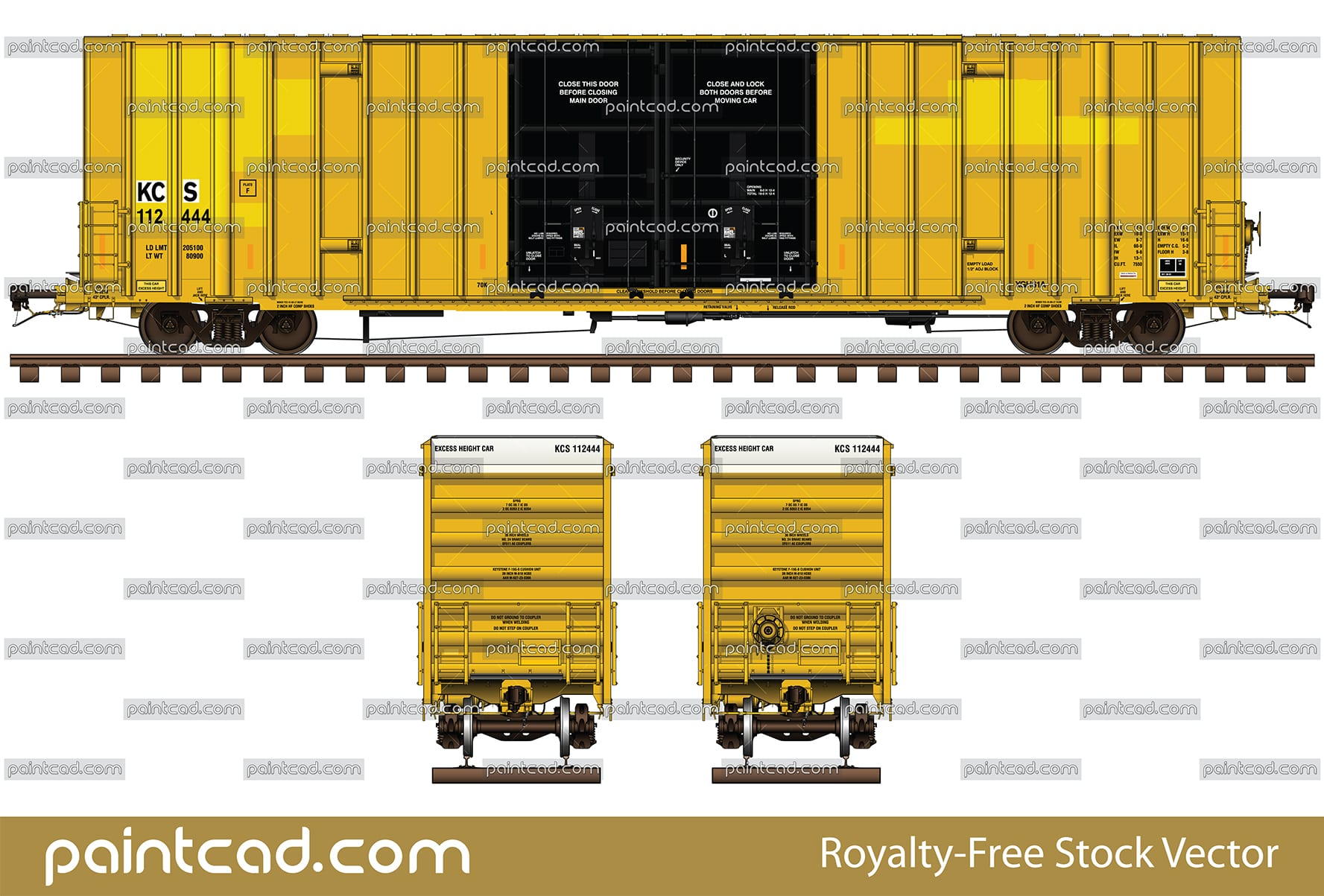Gunderson boxcar 60 ft with new repainted reporting mark KCS - vector illustration