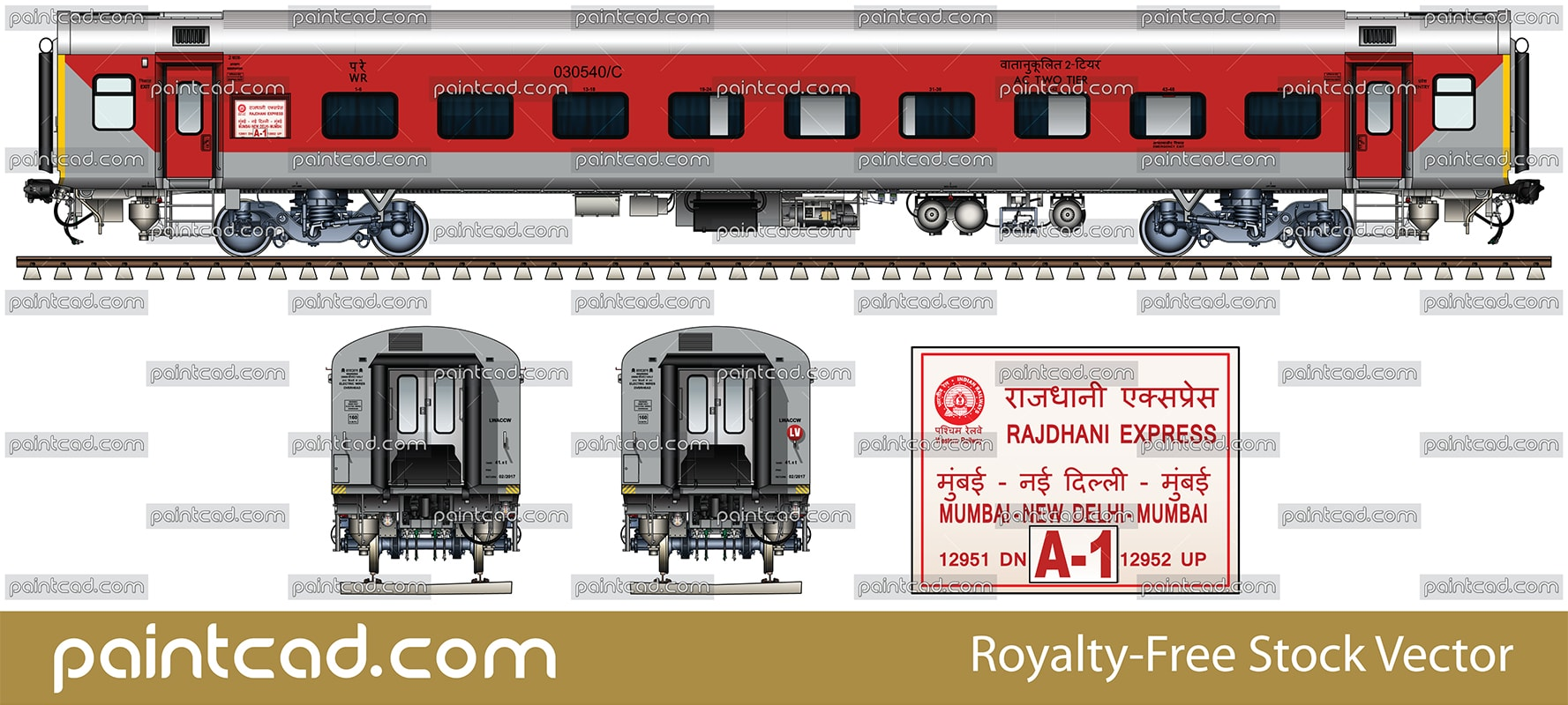 LHB AC two tier coach by Rajdhani Express Mumbai-New Delhi - vector illustration