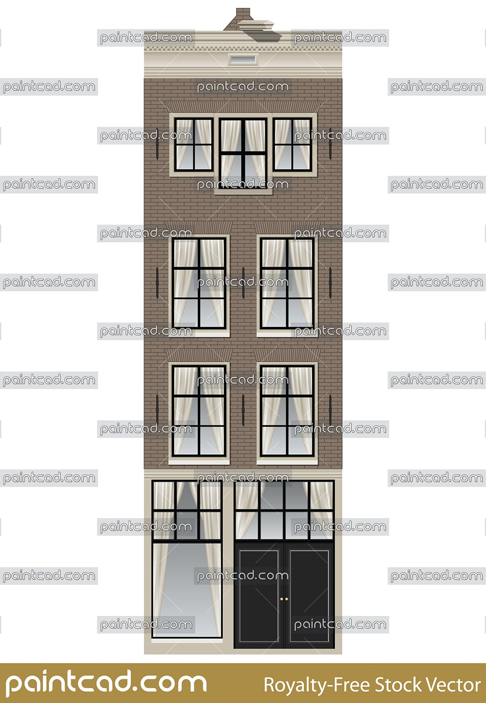 Amsterdam house from the Spuistraat near to Singel canal - vector illustration