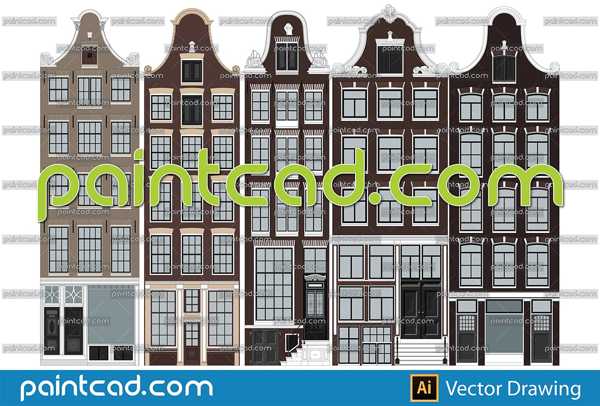 Canal houses with different gables. Set of 4 Amsterdam facades - vector illustration