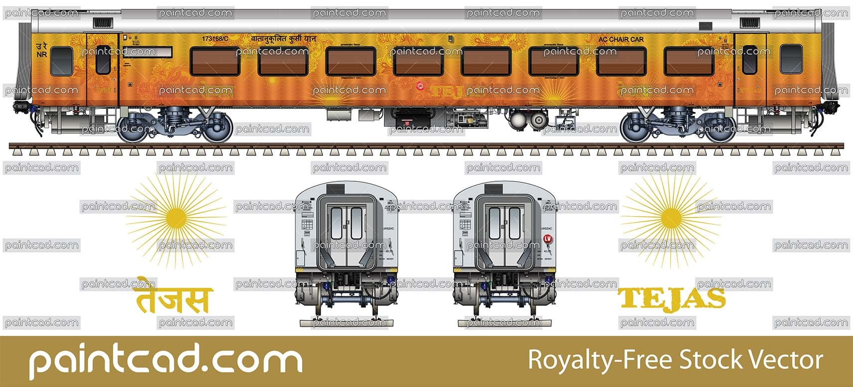Luxury AC CHAIR CAR by New Delhi - Chandigarh Tejas Express - vector illustration