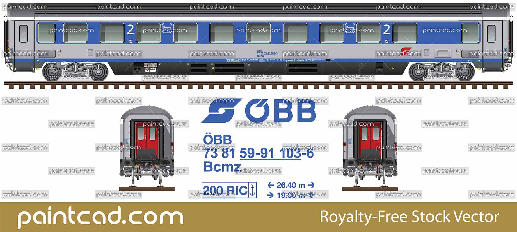 """Eurofima"" Bcmz-sleeper of the Österreichische Bundesbahnen - vector illustration"