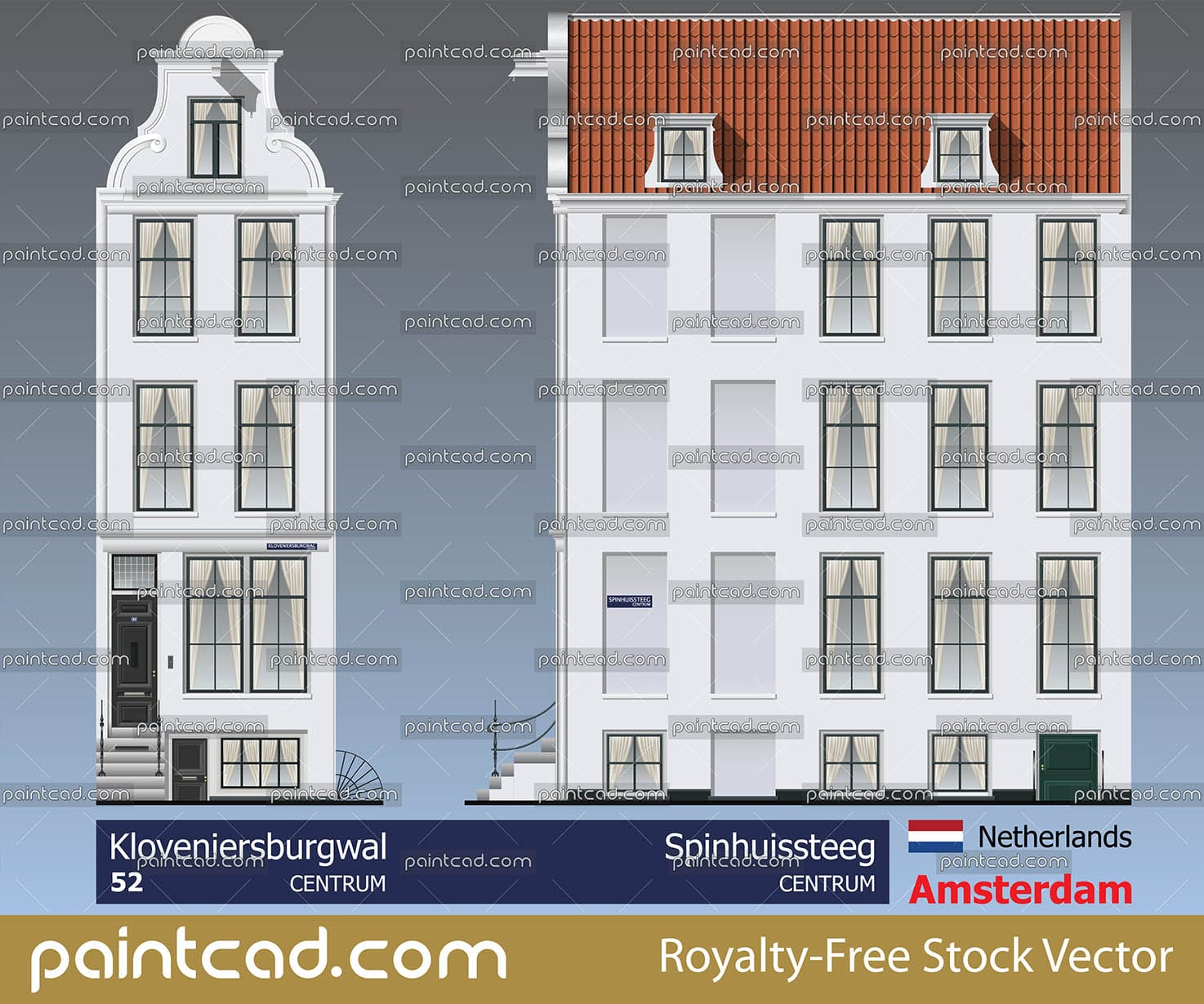 Old Amsterdam house situated on the Kloveniersburgwal canal - vector illustration
