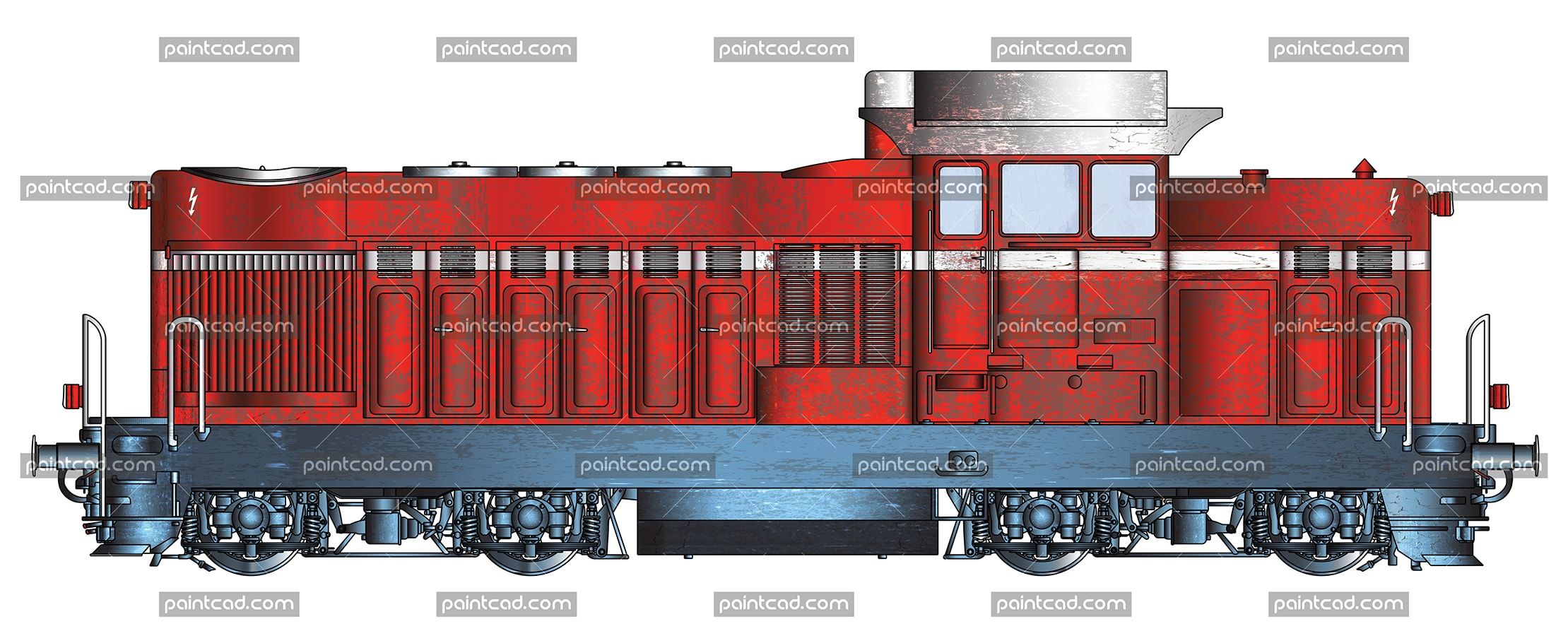 Vector image in high resolution of a bulgarian diesel-hydraulic locomotive. The machine is known as LDH125 in Romania, used by CFR , the state railway of Romania and serie 55 in Bulgaria- the most widespread diesel locomotives in Bulgarian State Railways.  They were built in Bucharest, Romania. They are universal and used for different activities. Mainly used for ordinary and heavy shunting work. Their design and technical parameters allow service freight, passenger and express trains.