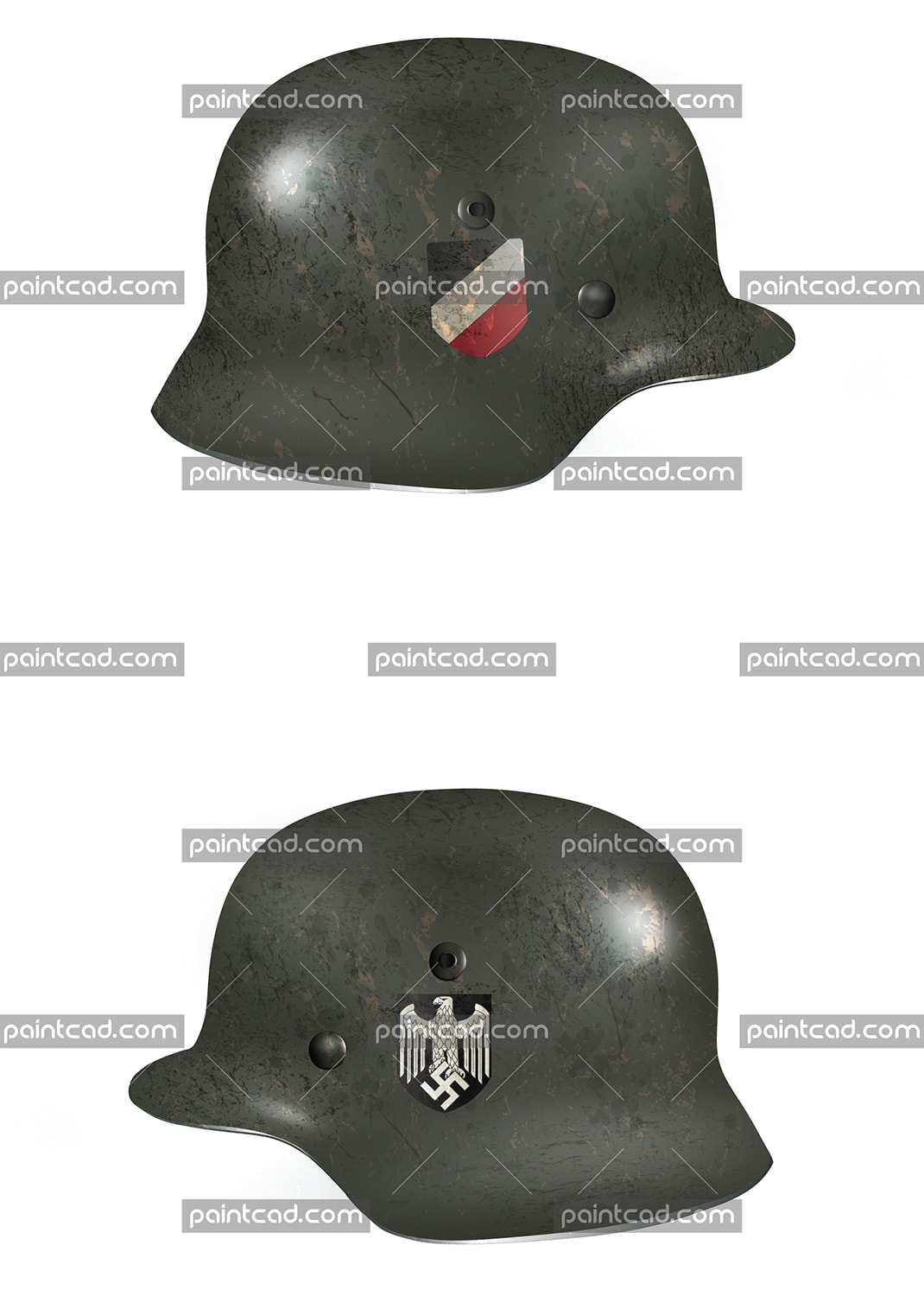 "Paintcad collection ""Great Patriotic War and 70 years of the Victory over Nazism"".  Vector illustration of Nazi dark green helmet used by land forces of German army (Deutsches Heer) during the World War II. Double decals insignia. On right side have an imperial shield in black, white and red. These are the colors of the flag of the German Empire (1871–1918) also known as the Second Reich. On left side view is shown stylized imperial eagle who has grabbed swastika. Insignia of the Heer. Eastern front, 1943. Realistic computer aided painting with rust and scratched surfaces. Isolated objects on white background."