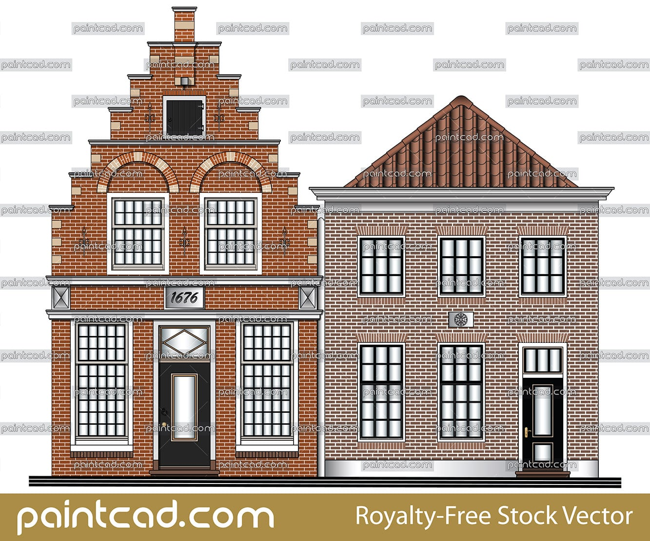 Classic low-rise canal houses from Amsterdam, Netherlands - vector illustration