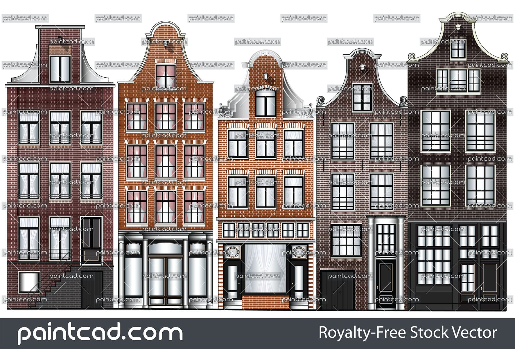 Facades of old canal houses from Amsterdam city, Netherlands. The houses in the Dutch capital usually have a basement for storage a goods and serve to prevention of flooding. For this purpose, they also raised several feet above street level. This type of buildings are slim, long in depth, high and have a narrow stairways. For this reason can not be picked up furniture and large goods through their entrances. Dutch builders figured out a clever way for vertical transport. They used a special lifting installation which is mounted on top of the building. Pulley mechanism is simple and consists of winch and issued crossbar with hook.  Usually this beam is styled with beautiful details. The front walls of the canal houses end with beautiful gables. The facades have a traditional Dutch Clock gable with different decorative shapes. They serve to identify and to decorate the building. The visible brickwork with shaped fugues, horizontal friezes and beautiful woodwork gives beautiful appearance of old Dutch city houses and carry the spirit of the Renaissance. Isolated objects over white background. Colored vector drawing suitable for illustrative purpose and advertising.