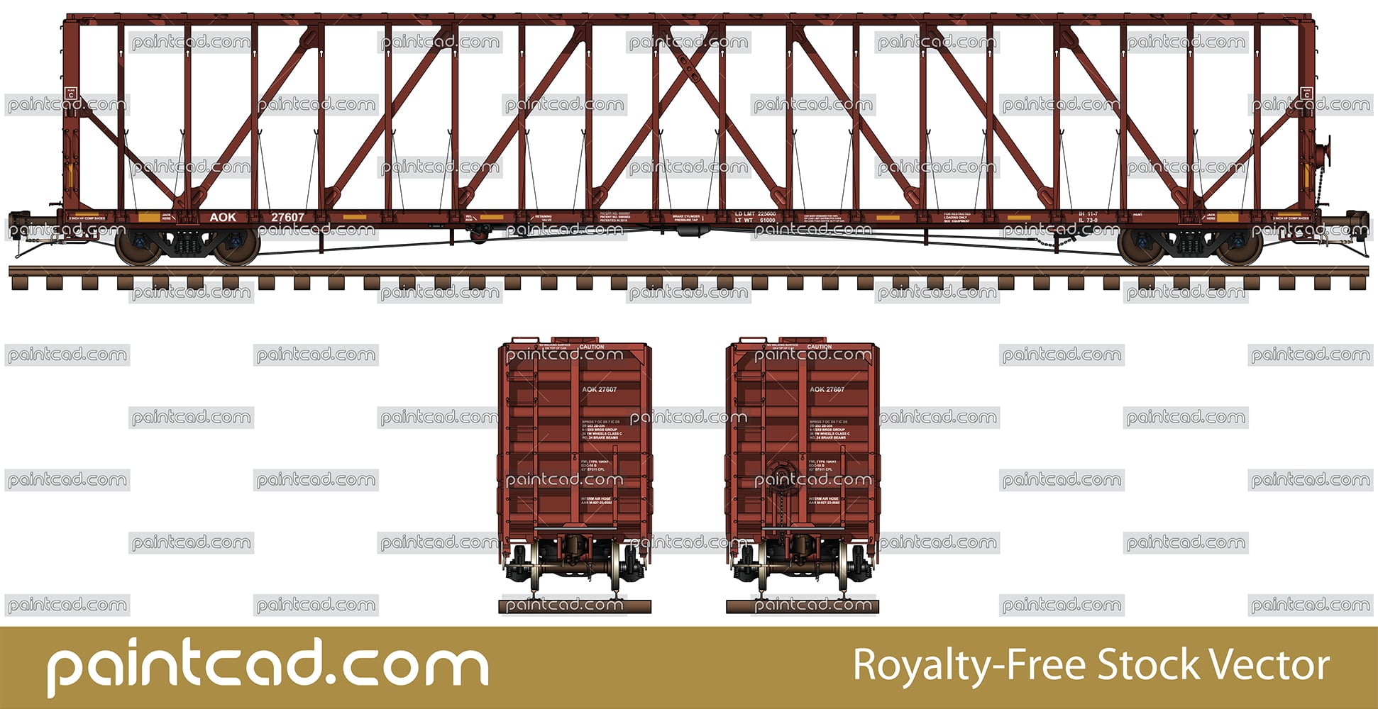 Riserless deck center partition railcar in red livery of AOK - vector illustration