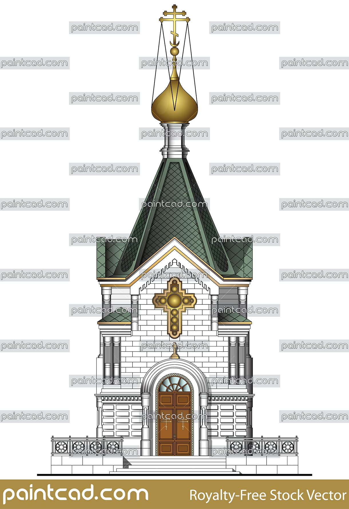 Vector illustration of classic Russian orthodox  temple . Illustrated is the facade of the church main entrance, with a small and huge gold cross above the entrance doors and green roof with shining gold onion dome and over him typical Eastern Orthodox  cross,  with three horizontal crossbeams, known as the Suppedaneum cross. The building is white with entrance steps and metal railing.