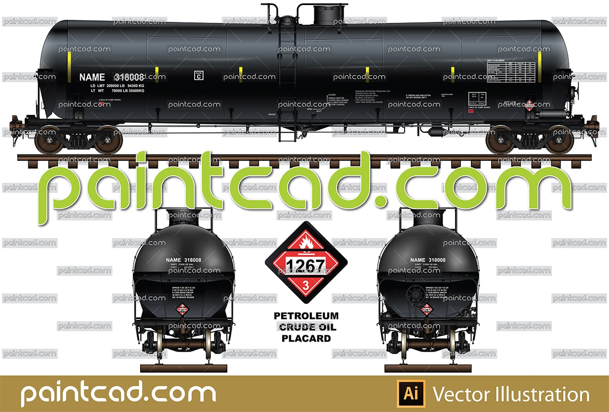 Tank car DOT-111 with head shield for transport of crude oil - vector illustration